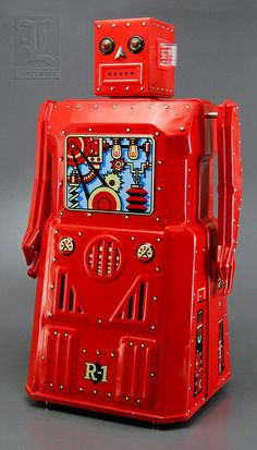 Rocket USA's R-1 ROBOT- LIMITED EDITION RED version battery-operated tin toy