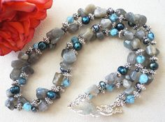 Labradorite Twisted Double Strand Necklace, Semi-Precious Gemstone Necklace, Handmade Jewelry, Gray Blue Gemstone Necklace
