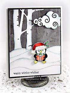 Warm Winter Wishes Card by Stephanie Kraft #Cardmaking, #Christmas