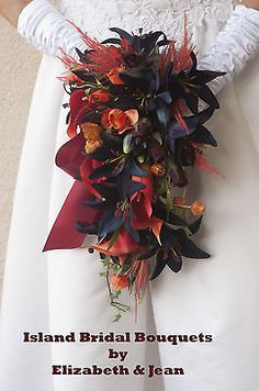 FALL WEDDING BOUQUET NAVY BLUE RED ORANGE BURGUNDY CALLA LILY ROSE 15 PC