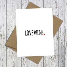 Love Wins. Beautiful hand-lettered card. Celebrate equality with this beautiful Love Wins Blank Card. #Lovewins, #loveislove by FlairandPaper on Etsy