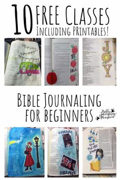 "This 10-day Bible journaling course is specifically designed for beginners. It's FREE and includes classes and PRINTABLES! You get: 1: Bible Journaling Quick Start 2: How to Find Scripture for Bible Journaling 3: Finding the Best Bible for You 4: Protecting Your Bible and Workspace 5: Tracing in Your Bible 6: Decoding the Many Pencil Choices 7: Coloring in Your Bible 8: Adding Tip-ins 9: Using Stickers and ""Other Stuff"" in Your Bible 10: Bonus"