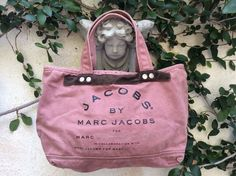Marc  For Marc Jacobs Brown Suede & Mauve Canvas Tote Bag Book Shopper Market #MarcbyMarcJacobs #TotesShoppers