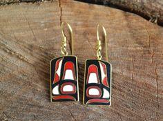 Tribal earrings, NAVAJO, gold ethnic earrings, Navajo jewelry, Native American earrings, Roccoco, Haida Fin, vintage NAVAJO, Enamel (E508) by LKArtChic on Etsy