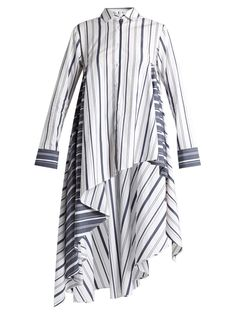 Click here to buy Palmer//harding Striped waterfall-hem cotton-poplin shirt at MATCHESFASHION.COM