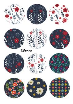 Winter flowers 12 Images/Dessins/collages/Scrapbooking digitales pour cabochon 30/25/20/18/16/15/14/12/10/8 mm Rond/Carré/Ovale : Images digitales pour bijoux par chat-therapie