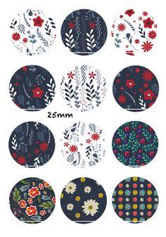 Winter flowers 12 Images/Dessins/collages/Scrapbooking digitales pour cabochon 30/25/20/18/16/15/14/12/10/8 mm Rond/Carré/Ovale : Images digitales pour bijoux par chat-therapie