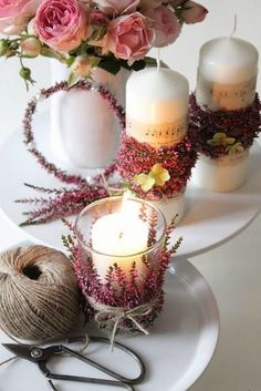 Thanks to these table decoration ideas for Valentine& Day, men will be at your feet! - Make vintage candles yourself Informations About Dank dieser Tischdeko Ideen zum Valentinstag werden - Pot Mason Diy, Mason Jars, Cheap Christmas, Simple Christmas, Diy Crafts To Do, Deco Floral, Vintage Candles, Candle Lanterns, Candels