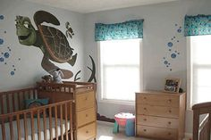 Nursery Painting Ideas | wall mural in dark brown green and black turtles sea grass and blue ...