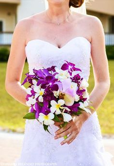 Tropical orchid and plumeria cascade #bouquet #bridalbouquet #belizewedding  leonardomelendez.com idobelizeweddings.com
