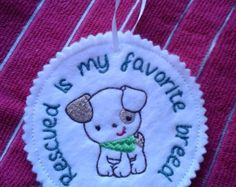Dog Rescue Embroidered Felt Christmas Ornament