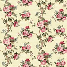 Dolls House  Wallpaper 1/12th or 1/24th scale Quality Paper Cream Roses Dollhouse  Miniature #59