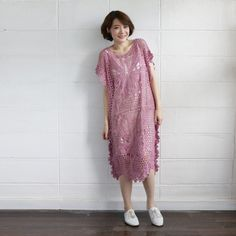 Short-Sleeve Dresses Lace Cotton Butterfly Pink Color - www.tanbagshop.com