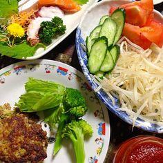 頂いた 手作りケチャップをかけて - 9件のもぐもぐ - オクラハンバーグ サラダ 刺身 by 4jinoanata