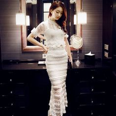 Spring summer sexy white lace bodycon dress sets vestido de renda longo vintage 2 piece set women crop top skirt set L8161