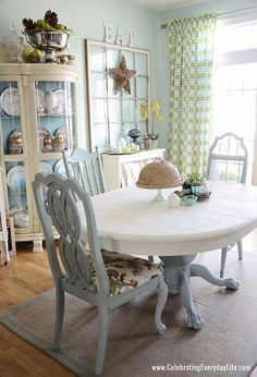 dining room table and chairs makeover with annie sloan chalk paint, chalk paint…