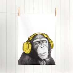 Choose from our amazing range of Tea Towels. A great addition when creating stylish themes for your kitchen. Stylish Themes, Monkey Illustration, White Headphones, Typography, Lettering, Black N Yellow, Tea Towels, Reusable Tote Bags, Monkeys