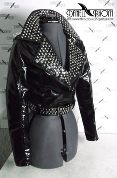 Dark PVC Jacket with studs by BarbedVirgin on Etsy