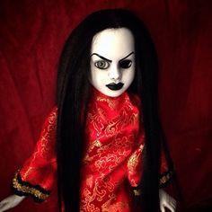Bastet2329 OOAK Creepy Black Hair Doll In Red Asian Dragon Print Dress