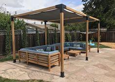Take a look at this beautiful outdoor setup in San Jose, California! Use the TOJ. - Take a look at this beautiful outdoor setup in San Jose, California! Use the TOJA Grid pergola kit - Diy Pergola, Pergola Canopy, Cheap Pergola, Outdoor Pergola, Wooden Pergola, Pergola Ideas, Patio Ideas, Small Pergola, Small Patio