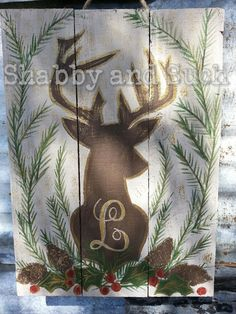 Deer Antlers Christmas Distressed Wood by shabbyandsuchdesigns