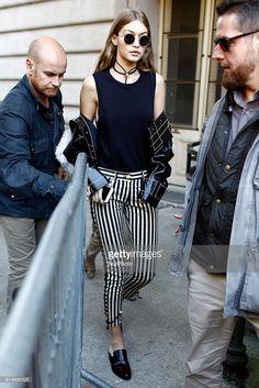 Super model Gigi Hadid see leaving the Giambattista Valli Fashion Show, on October 3, 2016 in Paris, France.