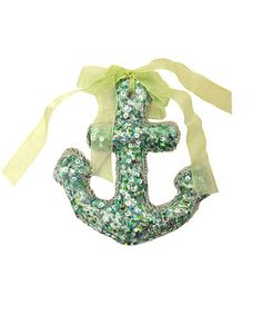 This Aqua Glitter Anchor Ornament