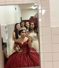 Court goals ✨, dama mirror picture taken with this cute off to shoulder burgundy quinc. - Court goals ✨, dama mirror picture taken with this cute off to shoulder burgundy quinceañera✨ - Quinceanera Dresses Maroon, Mexican Quinceanera Dresses, Mexican Dresses, Quinceanera Court, Quinceanera Ideas, Dama Dresses, Quince Dresses, Prom Dresses, Chiffon Dresses