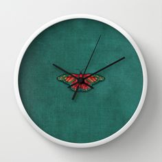 Vintage textured butterfly clock, great wall art.