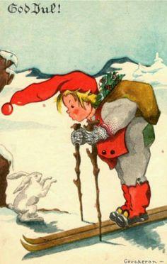 Julekort Anne Eline Coucheron utg Oppi brukt 1937 Christmas Cards, Christmas Postcards, Christmas Ideas, Vintage Cards, Back In The Day, Gnomes, Norway, Woodland, Scandinavian
