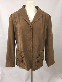 Suan Graver Size Med/Lrg Brown Faux Suede Floral Embroidered Jacket Blazer #SusanGraver #Blazer