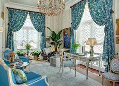 Elizabeth Guest design. Verrieres fabric on window tratment. Blairsden Masion