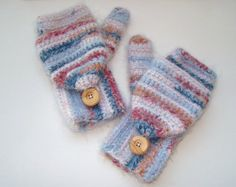 Convertible Fingerless Mittens Angel Hair by CreativeEndeavorsKS, $35.00