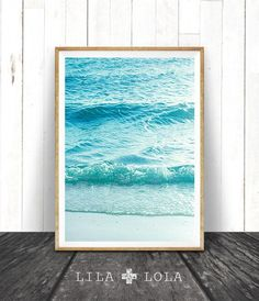 Beach Photography, Printable Wall Art, Modern Coastal, Large Poster, Blue and Aqua Ocean Waves, Beach Photo, Beach Decor, Instant Download