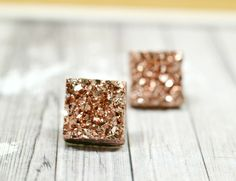 Rose Gold Druzy Earrings, Sparkly Galaxy Faux Crystal Earrings, Bronze Square Drusy Studs Geometric Square Posts by waterwaif on Etsy https://www.etsy.com/listing/258759065/rose-gold-druzy-earrings-sparkly-galaxy