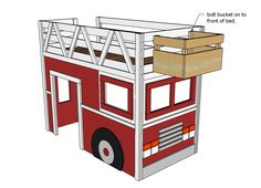 How to build a fire truck loft bed. Free step by step plans to build a fire engine loft bed. Loft Bed Plans, Murphy Bed Plans, Fire Truck Bedroom, Diy Bed, Fire Trucks, Furniture Plans, Kids Bedroom, Bedroom Ideas, Boy Room