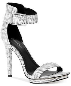 497b4a255bd1 Calvin Klein Women s Vivian High Heel Sandals - Shoes - Macy s Black And  White Shoes