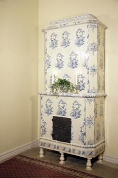 Swedish kakelugn, antique tiled stoves! <3