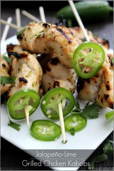 Jalapeño -Lime Grilled Chicken Kabobs described as a lime margarita a stick. A perfect balance of sweet and spicy, this chicken kabob is a must have for you and your grill this summer.