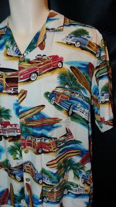 Mens Diamond Head Hawaiian Shirt M Med Woody Cars Surf Coconut trees Vintage #DiamondHead #Hawaiian