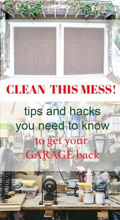 Is your garage filled with so much clutter that you can't even park your car in it? Garage storage and organization solutions with some tips to help! Easy Garage Storage, Garage Organization Tips, Organizing Tips, Door Storage, House Cleaning Tips, Spring Cleaning, Cleaning Hacks, Car Cleaning, Clean Garage