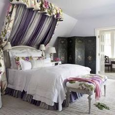 interesting idea for bed when up against a slanted wall. Way too much fabric. Use simple drape, maybe ethic fabric?