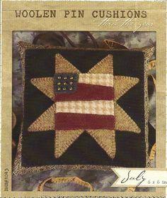 primitive folk art wool decor | Primitive Folk Art Wool Applique Pattern: JULY - Woolen PIN CUSHION