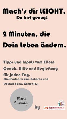 Du bist genug. Perfektionismus ist nicht notwendig und der Eltern-Coach rät: Mach's dir leicht. Teil der Podcast-Erfolgsreihe MAMA-COACHING FÜR DIE OHREN UND FÜRS HERZ - Empfohlen von Jesper Juul. Kostenlose Inputs und Tipps für jeden Tag, zum Anhören und Downloaden.