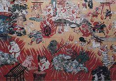 L'enfer (Extrait Dhammapada) - Page 4 Kanshin Jukkaï Mandala-Jikoku ( Enfer )   Dans la partie inférieure de cette peinture est décrite l'une des versions bouddhiste de l'enfer. Cette scène est celle de l'enfer des souffrances par le feu. Ceux résidant en enfer sont ceux souffrant d'une presque totale ignorance et d'un manque de volonté,ne sachant où ils sont,qui ils sont,où ils vont et ne se demandent pas pourquoi. Ils sont dans un état de souffrance.