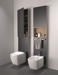 Like how they've used space above a toilet for storage. Presumably it's … Like how they've used space above a toilet for storage. Presumably it's also easy to get at plumbing if any problems. Bathroom Toilets, Laundry In Bathroom, Bathroom Sets, Bathroom Storage, Small Bathroom, Budget Bathroom, Toilet Storage, Vanity Bathroom, Small Laundry