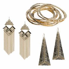 Live life to the chicest, and play up your edgy side in this set of bangles and drop earrings.    DRESS IT DOWN in black skinnies, a graphic tee and bold pink pumps.     ACCESSORIZE with a distinctive textured tote and cocktail ring.     DESIGN DETAIL: The pyramid-shaped drop earrings are encrusted with gunmetal and gold accents.