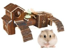 TRIXIE-FRIDA-NATURAL-WOOD-DWARF-HAMSTER-MOUSE-TUNNEL-SYSTEM-HOUSE-CAGE-HIDE-163