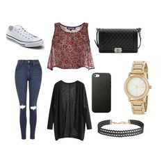 """Sans titre #296"" by margot-52 ❤ liked on Polyvore featuring Topshop, House of Holland, Converse, Chanel, Humble Chic and DKNY"