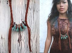 Turquoise Points Leather Necklace by christijay on Etsy, $36.00